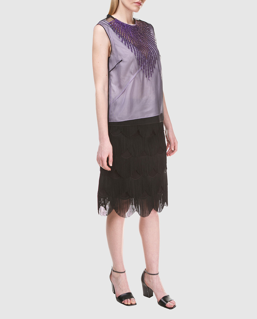 Marc Jacobs Черная юбка с бахромой M4007189 изображение 2