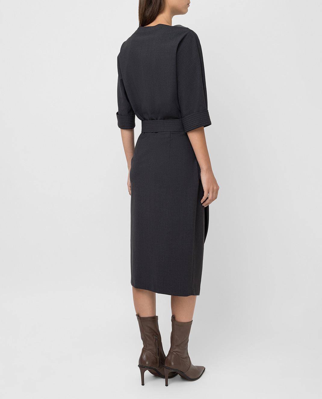 Brunello Cucinelli Темно-серое платье из шерсти изображение 4