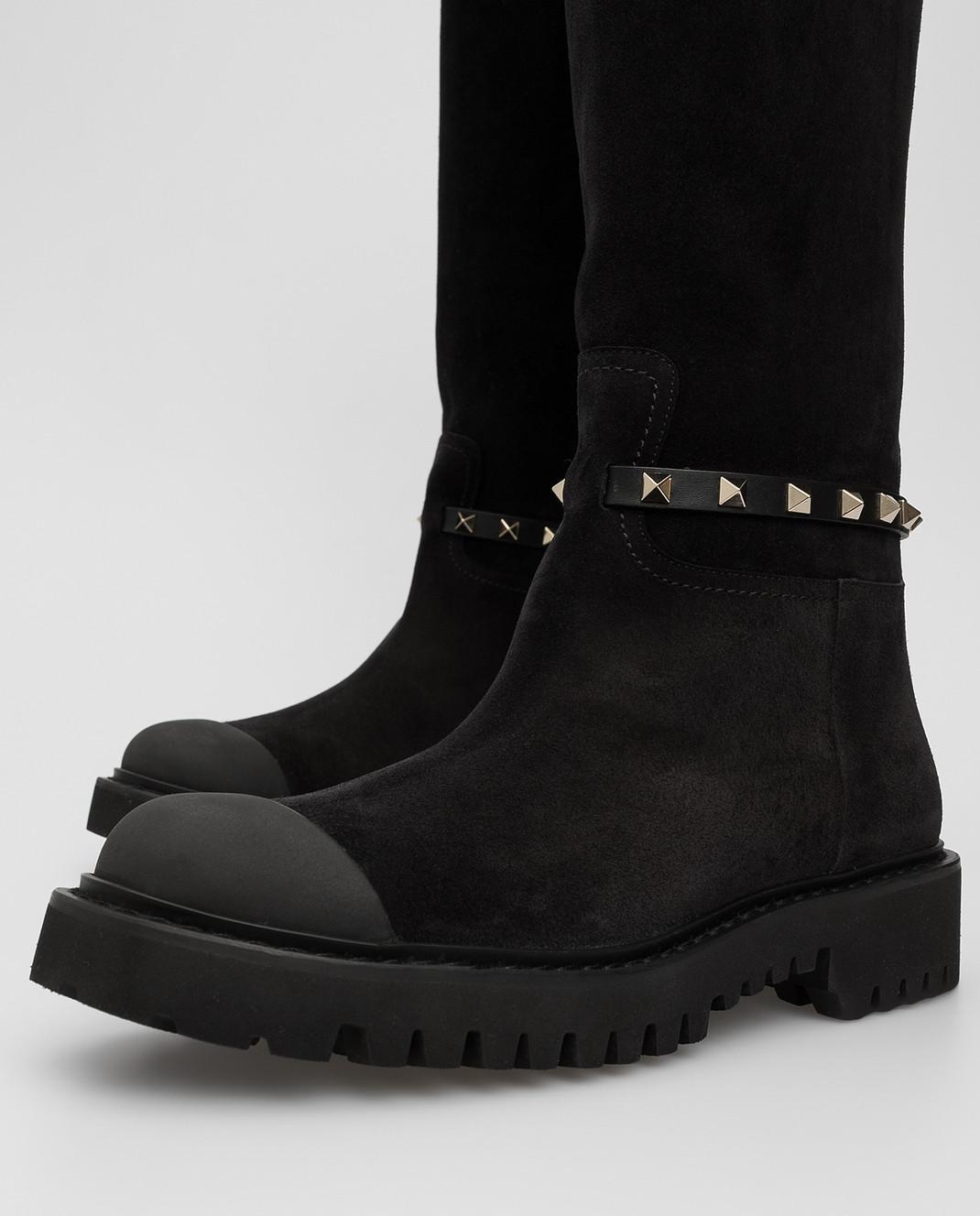 Valentino Черные замшевые сапоги SW0S0S20IFW изображение 5