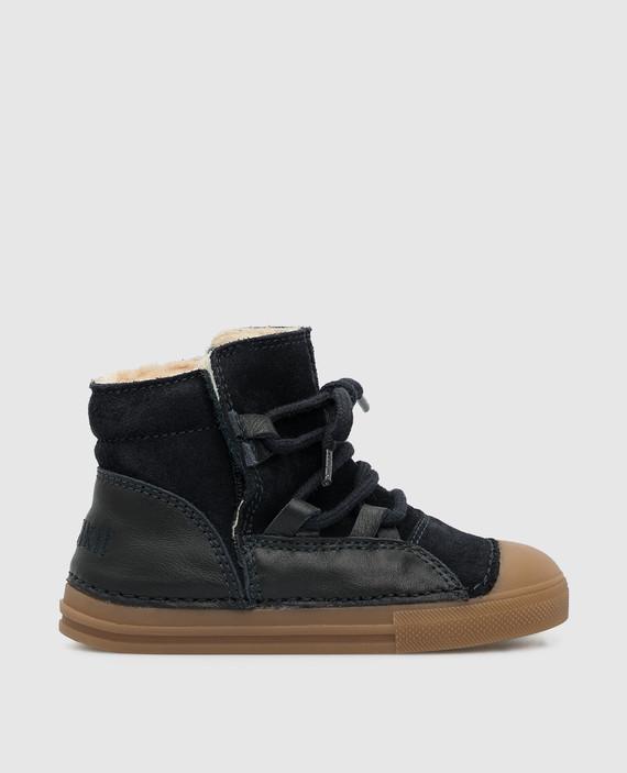 Детские темно-синие ботинки на меху