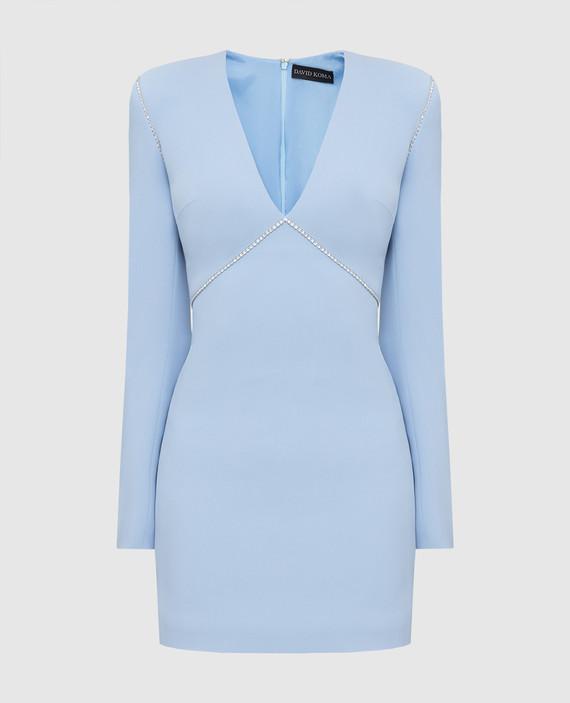Голубое платье с кристаллами