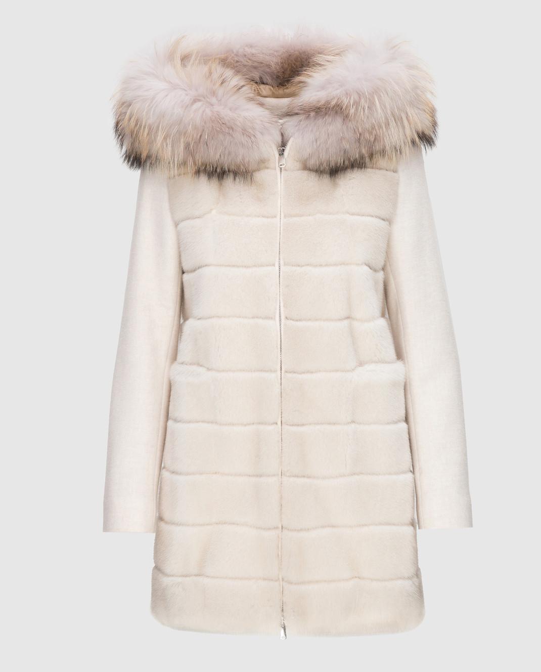 Real Furs House Светло-бежевое пальто с мехом енота 922RFH