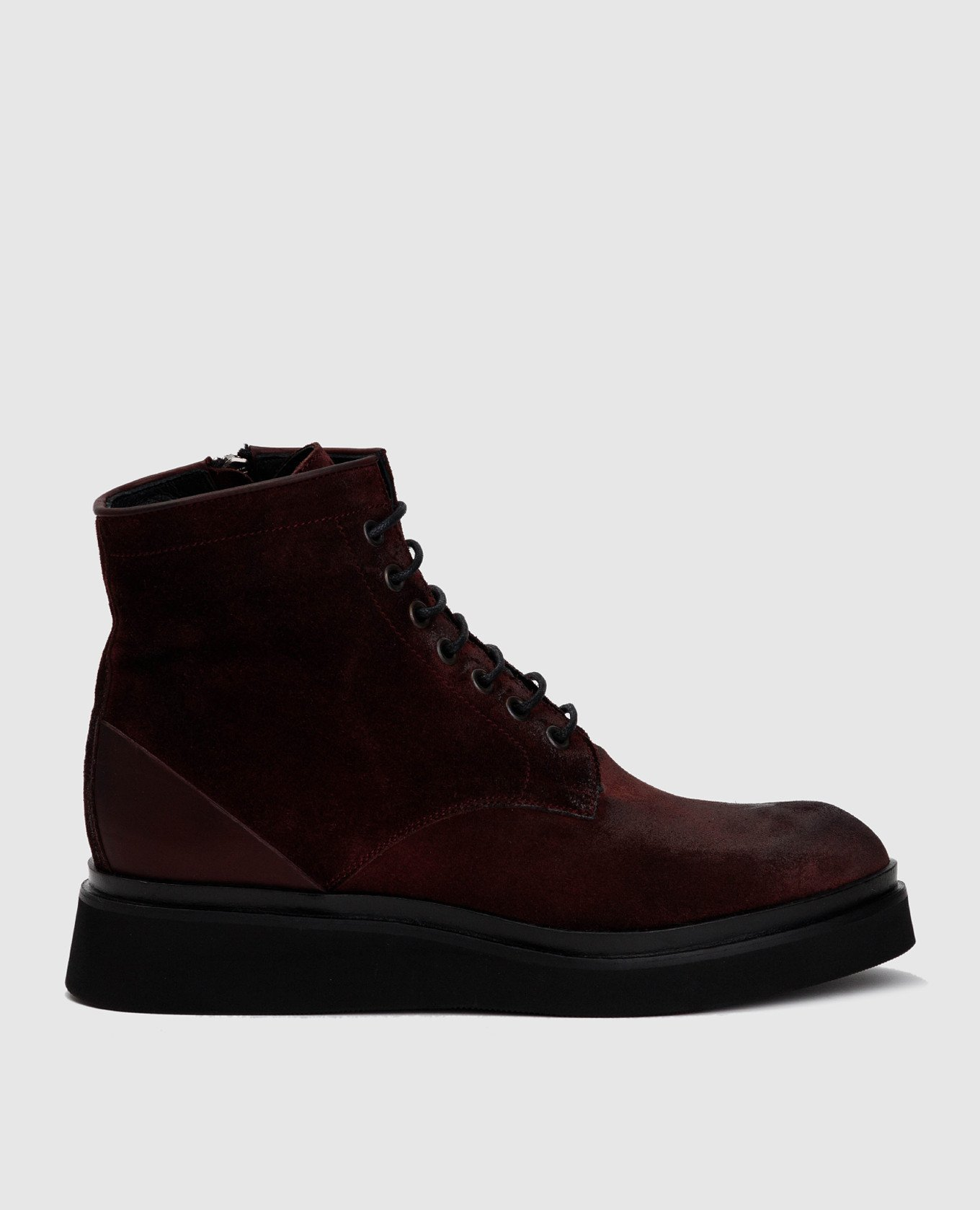 Бордовые замшевые ботинки