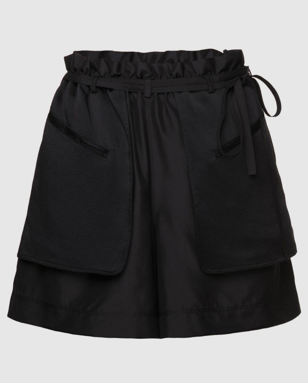 Черные шорты из шелка и хлопка