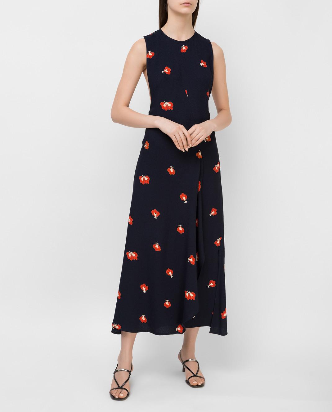 Victoria Beckham Темно-синее платье DRMID6317C изображение 2