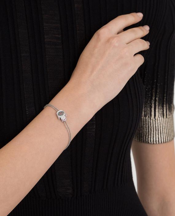 Серебристый браслет с кристаллами hover