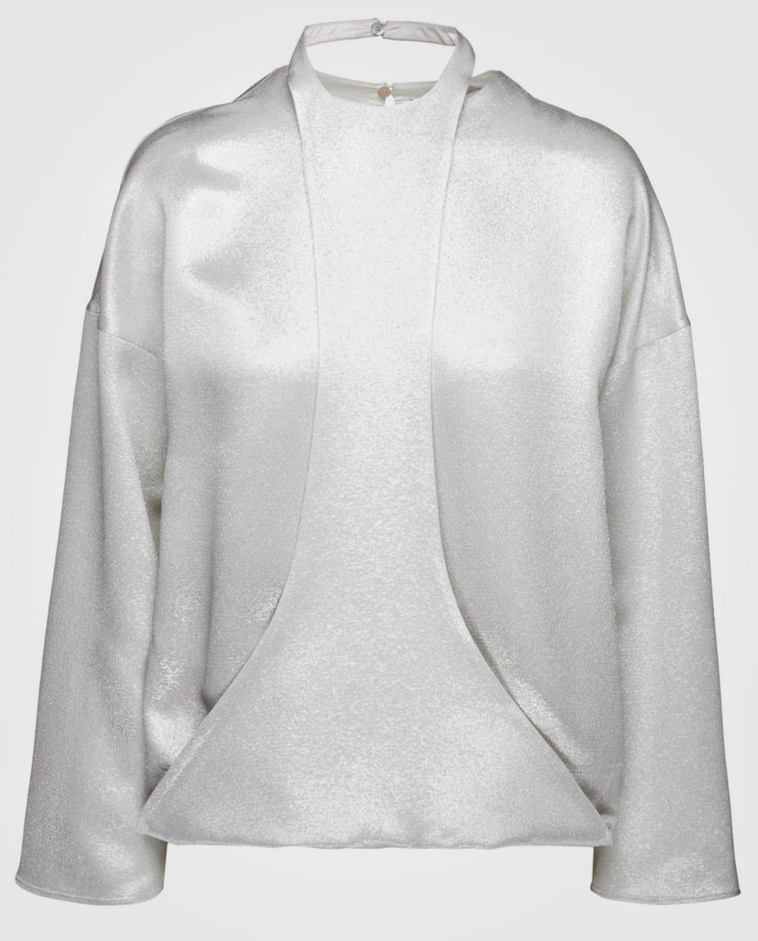 Серебристая блуза с длинным рукавом