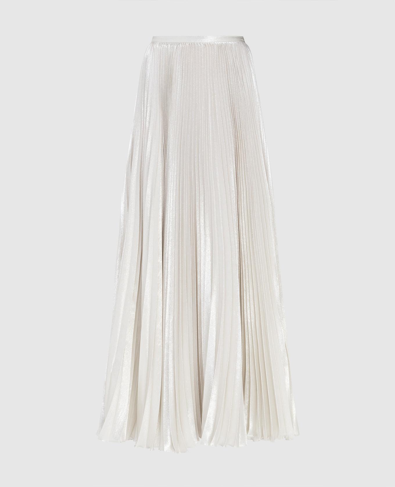 Серебристая юбка из шелка Kiton
