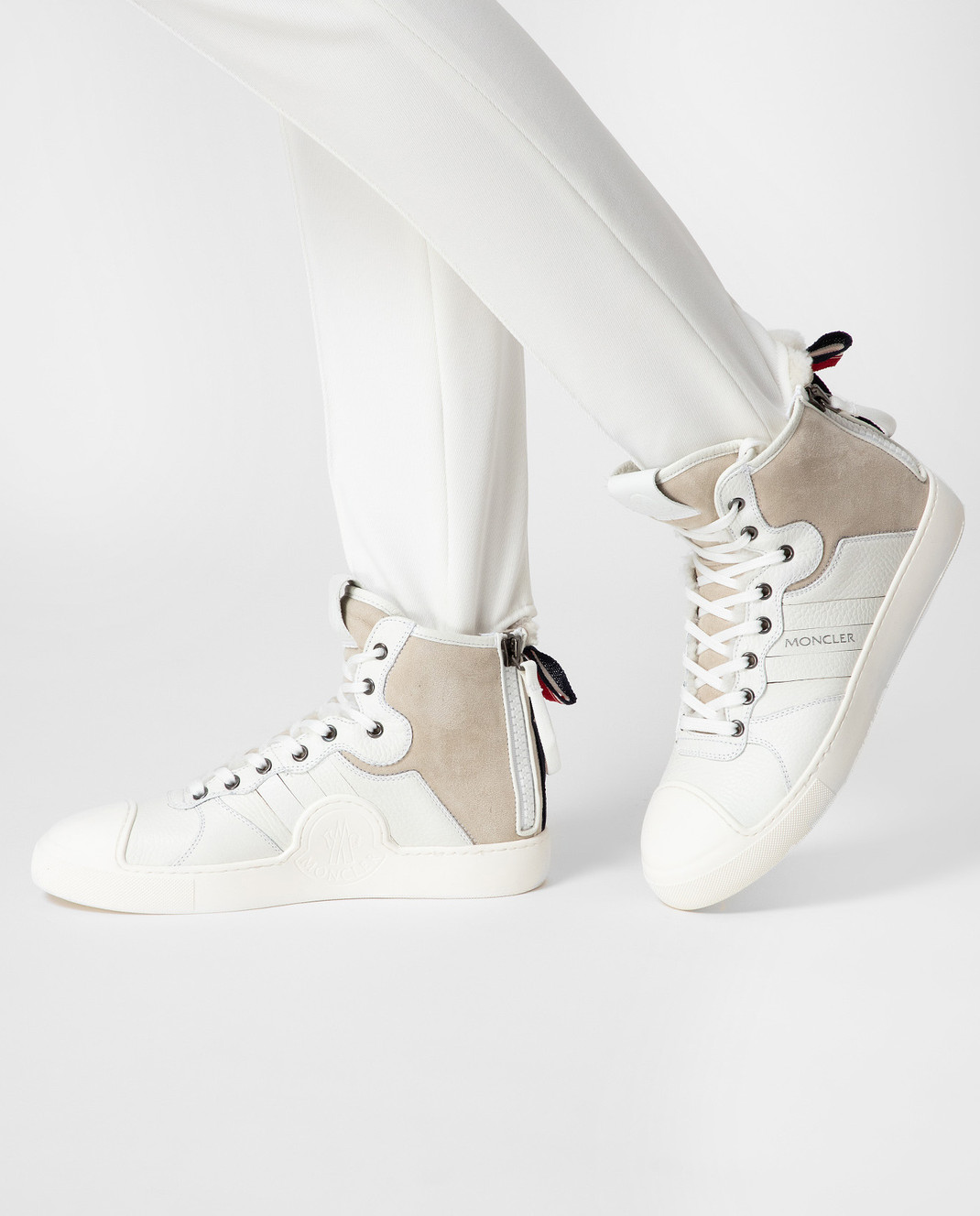 Moncler Белые кожаные хайтопы 20496 изображение 2