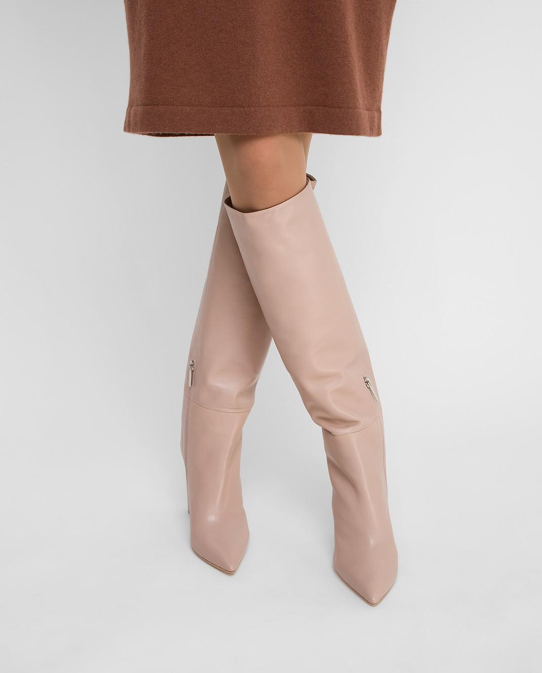Babe Pay Pls Бежевые кожаные сапоги изображение 2