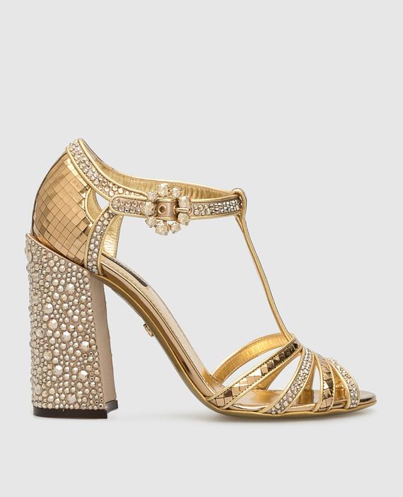 Золотистые босоножки с кристаллами