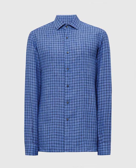 Синяя рубашка из льна A15W