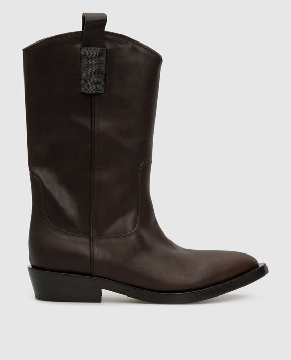 Темно-коричневые кожаные казаки