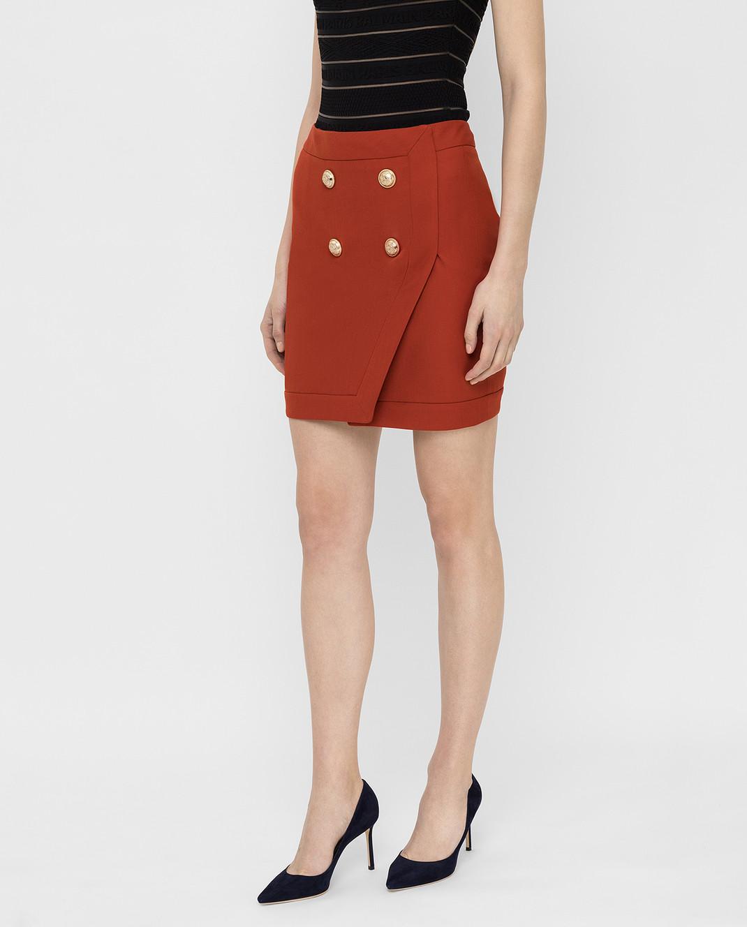 Balmain Терракотовая юбка TF14046V093 изображение 3