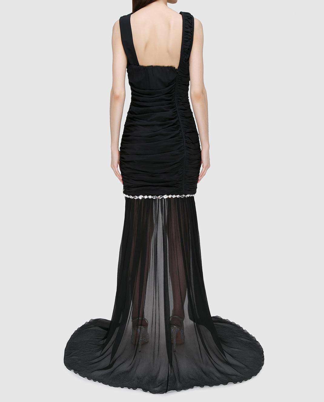 Blumarine Черное платье из драпированного шелка со шлейфом 58456 изображение 4