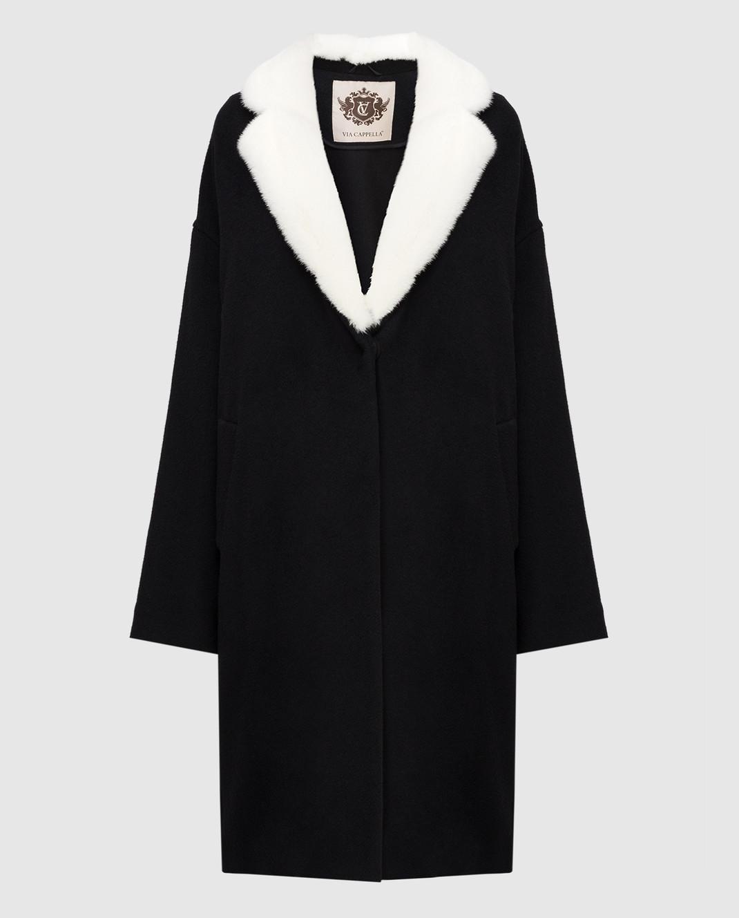 Via Cappella Черное пальто из кашемира с мехом норки C1017CASHMEREBLCOLLARM