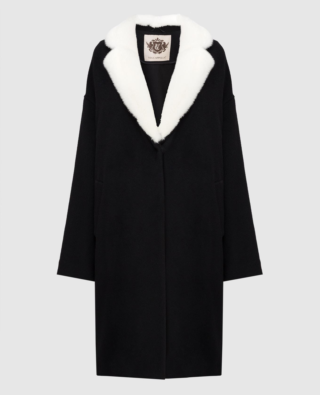 Черное пальто из кашемира с мехом норки