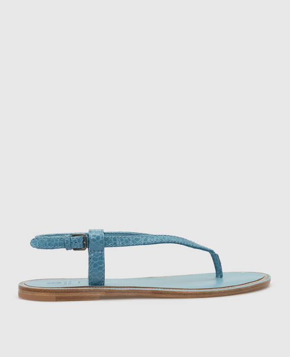 Голубые кожаные сандалии