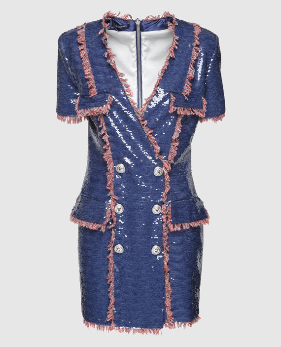 Синее платье с пайетками