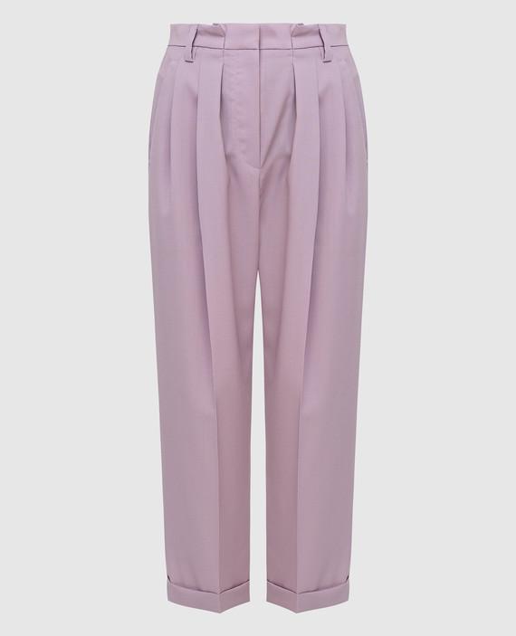 Сиреневые брюки из шерсти