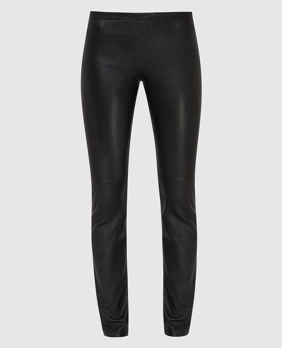Черные кожаные леггинсы