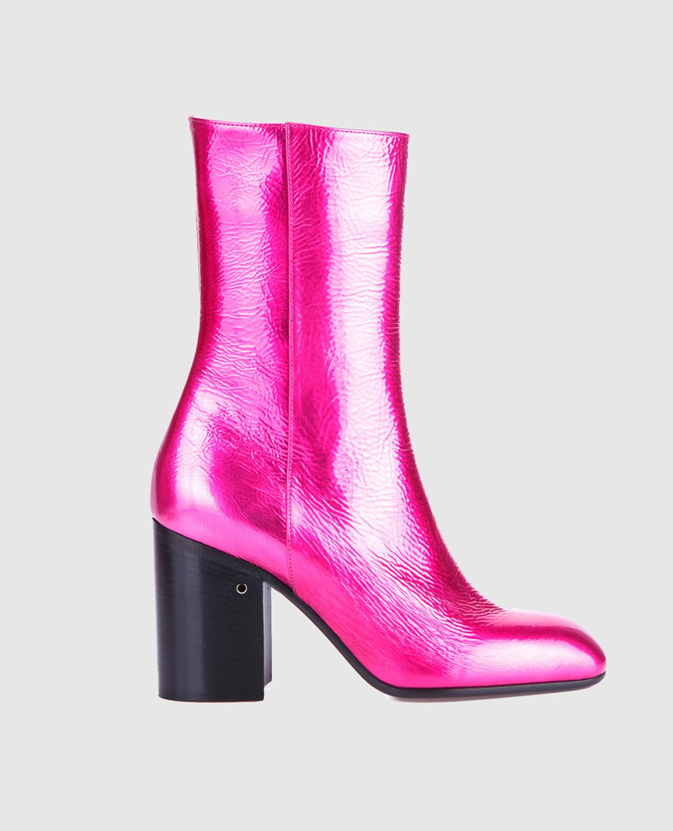 Розовые кожаные ботильоны