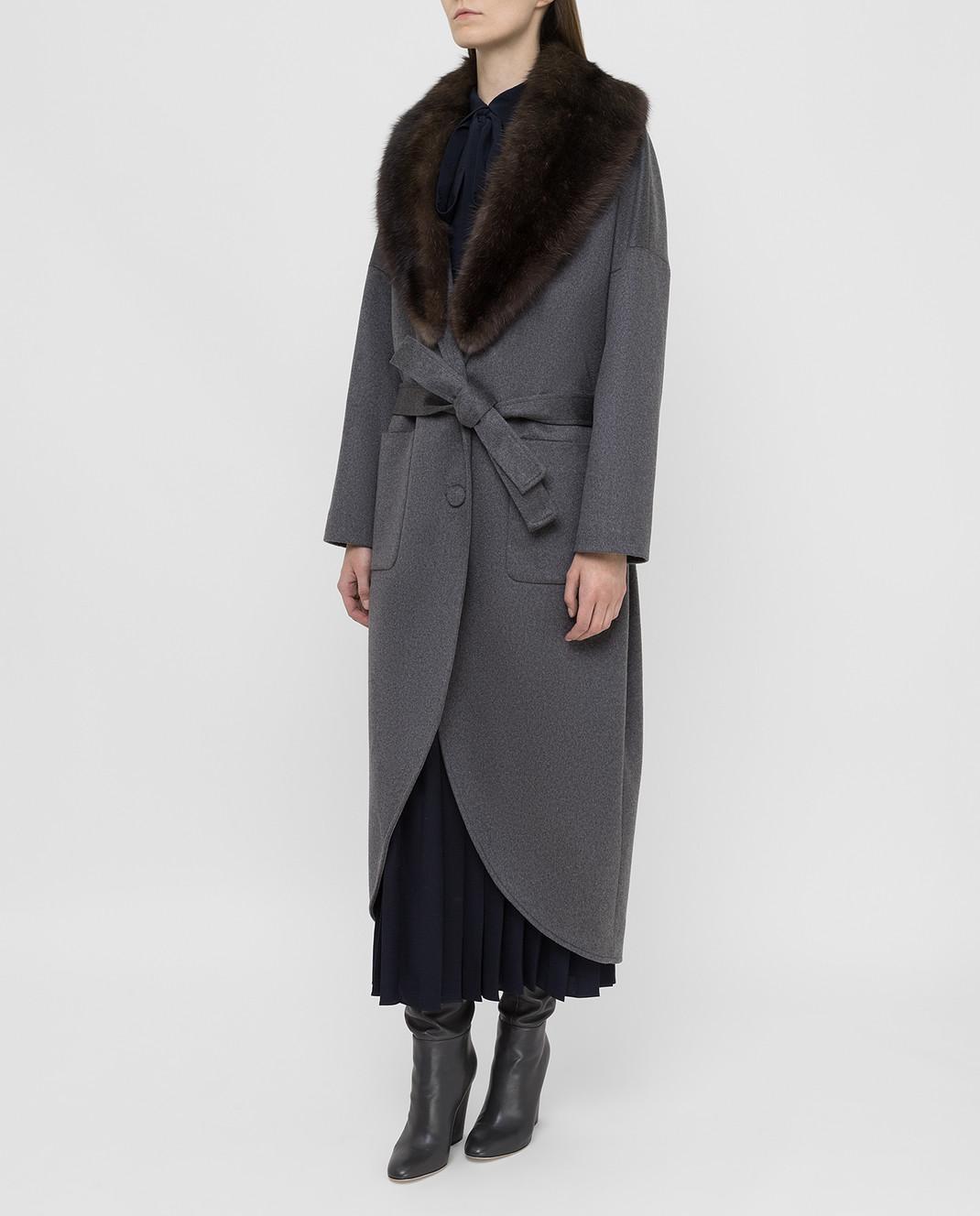 Real Furs House Серое пальто из кашемира с мехом соболя изображение 3