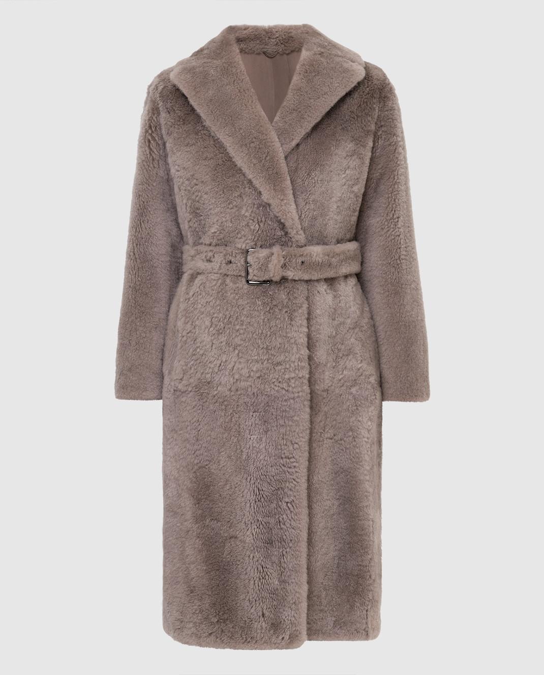 Brunello Cucinelli Бежевое меховое пальто изображение 1