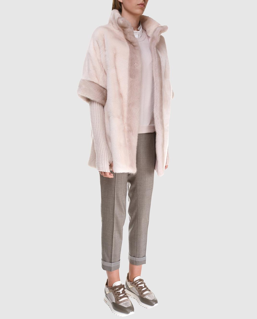 Florence Mode Пудровый полушубок из меха норки с митенками L1808BIS изображение 2
