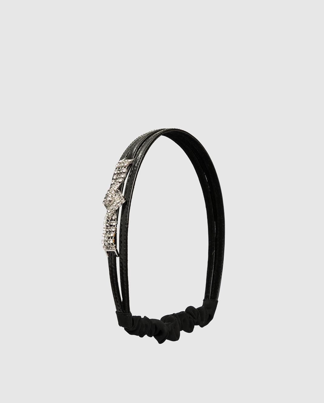 Alexandre De Paris Черный кожаный ободок с кристаллами THB036CA13 изображение 3