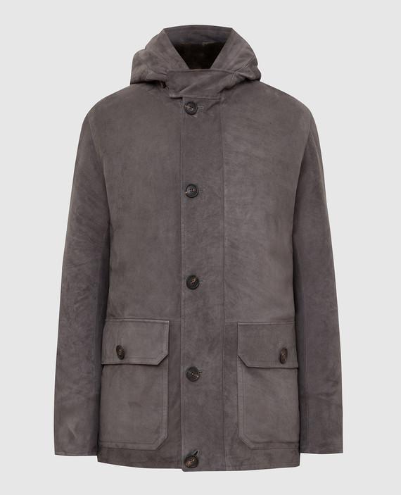 Серое пальто из замши с мехом нутрии