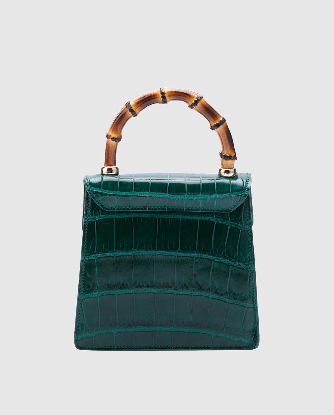 Bochicchio Зеленая кожаная сумка CROCOCLUTCH3 изображение 2