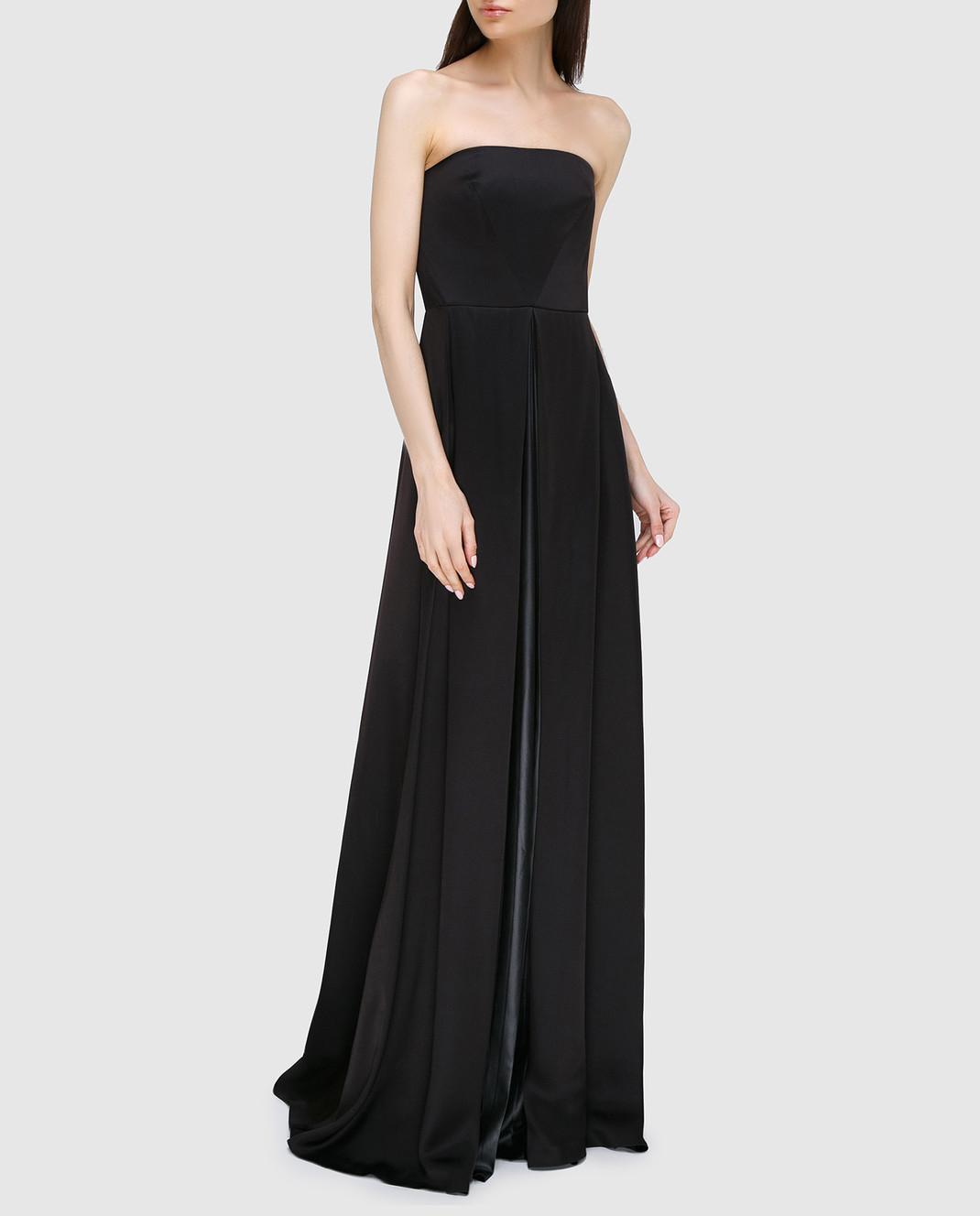 Cedric Charlier Черное платье из шелка A0405 изображение 2