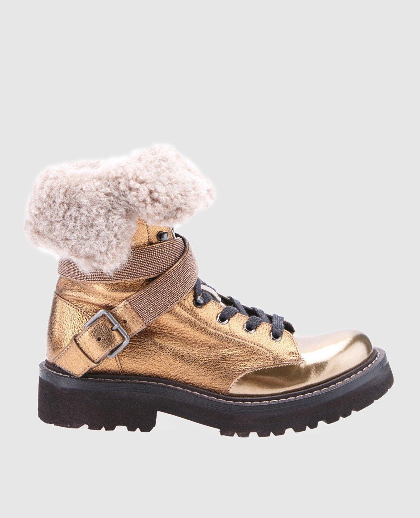 Золотистые кожаные ботинки