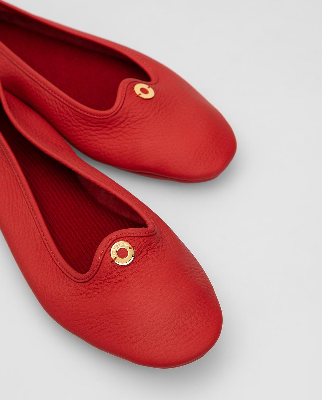 Loro Piana Красные кожаные балетки F3FAF8837 изображение 5