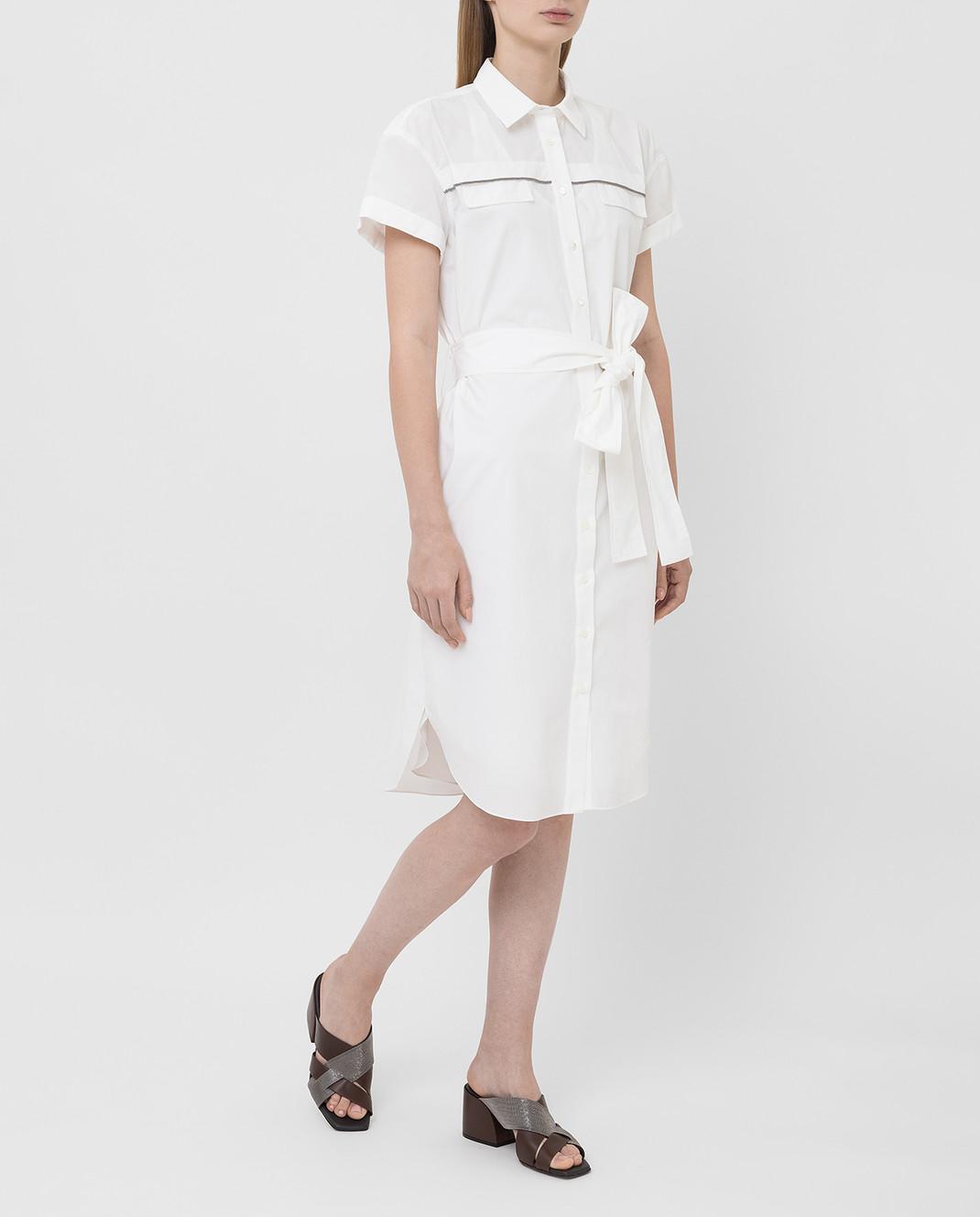 Brunello Cucinelli Белое платье MH127AFM52 изображение 2