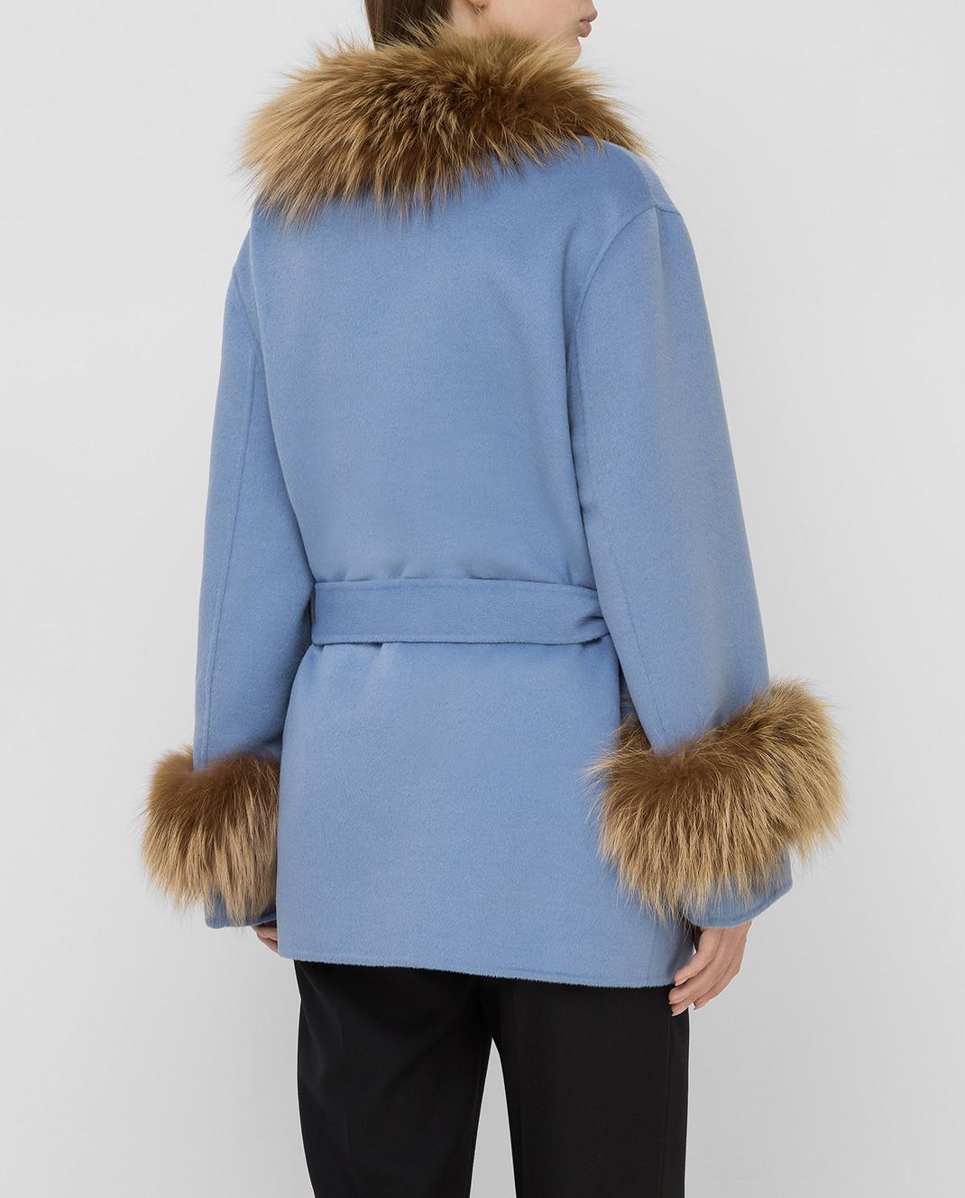 Prada Голубое пальто с мехом лисы изображение 4
