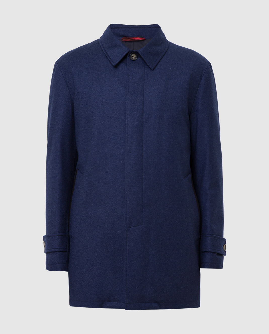 ISAIA Темно-синее пальто из шерсти и кашемира изображение 1