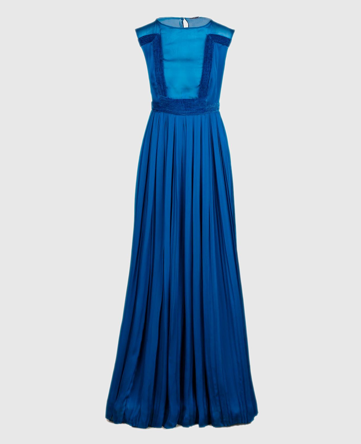 Синее платье из шелка