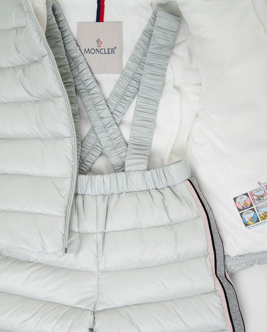 Moncler ENFANT Детский светло-серый пуховой костюм изображение 3