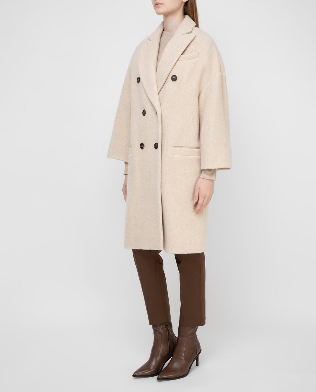 Brunello Cucinelli Светло-бежевое пальто изображение 3