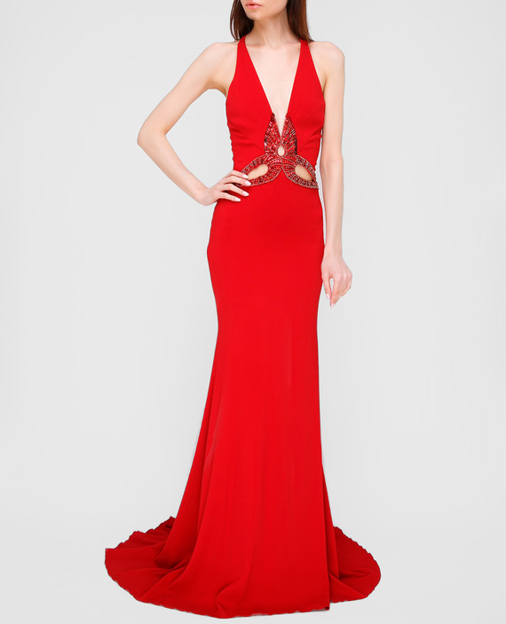 Красное платье со шлейфом hover