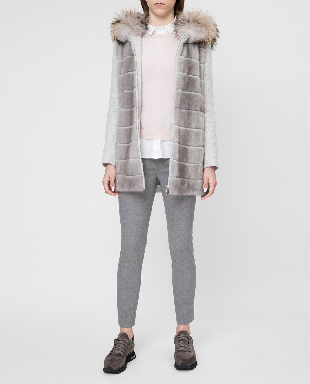Real Furs House Серое пальто с мехом енота 922RFH изображение 2