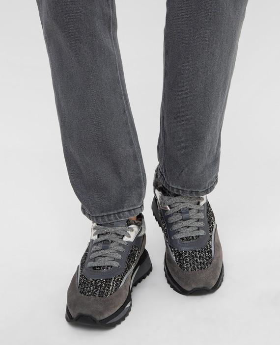 Темно-серые кроссовки на меху hover