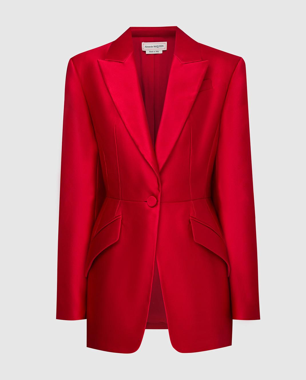 Alexander McQueen Красный жакет из шелка изображение 1