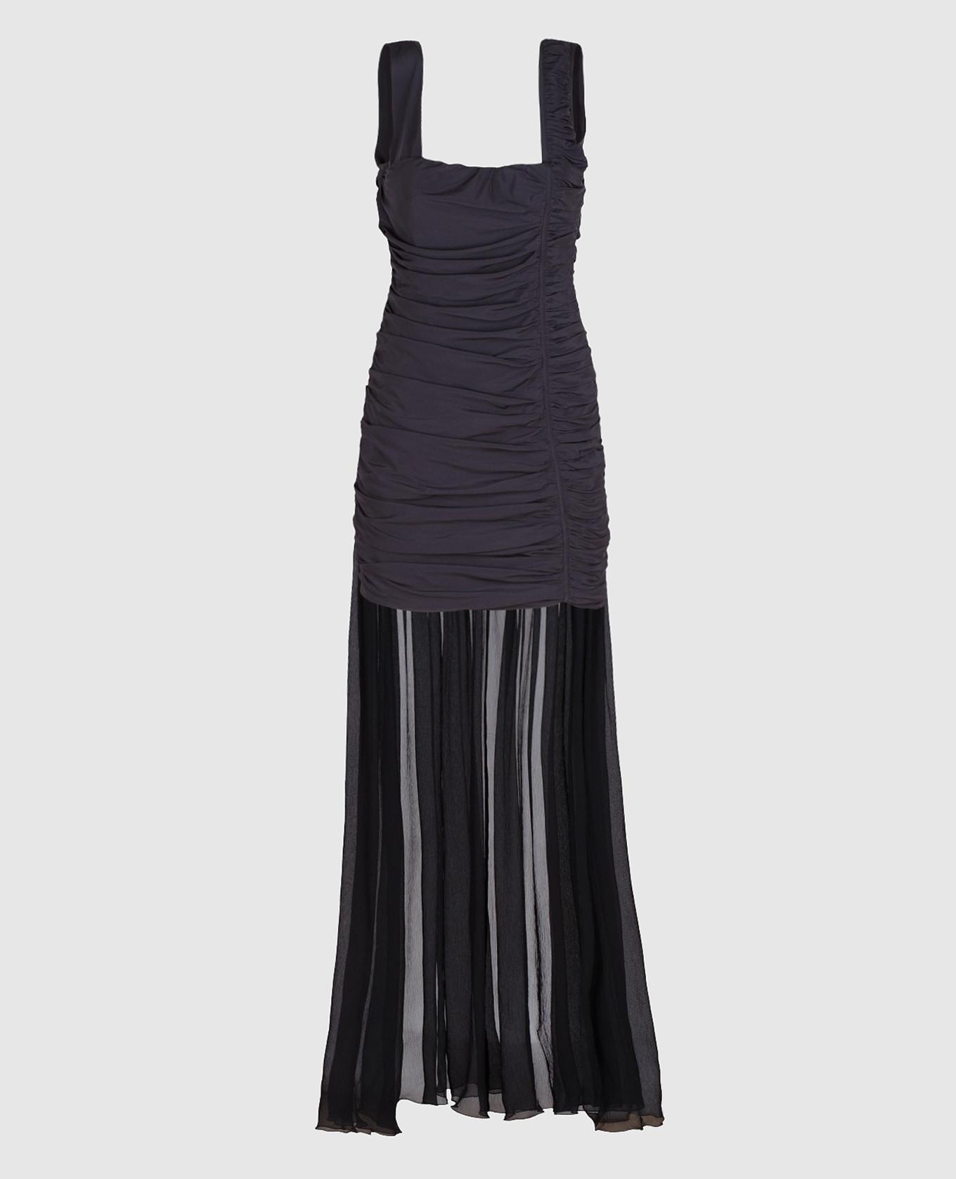 Черное платье из драпированного шелка со шлейфом
