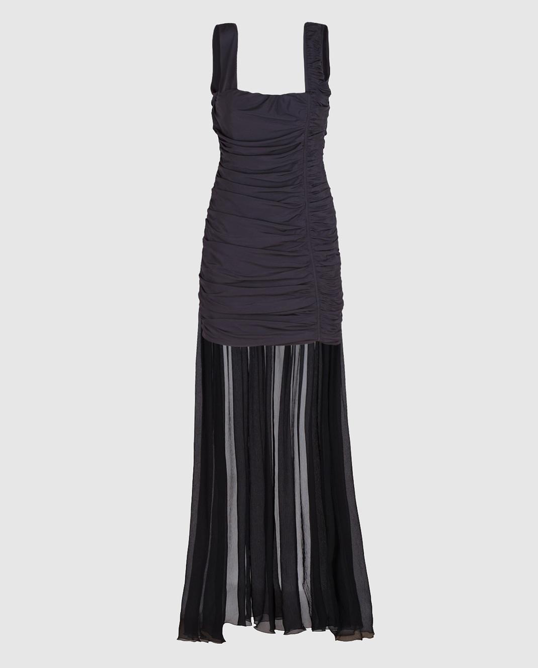 Blumarine Черное платье из драпированного шелка со шлейфом 58456