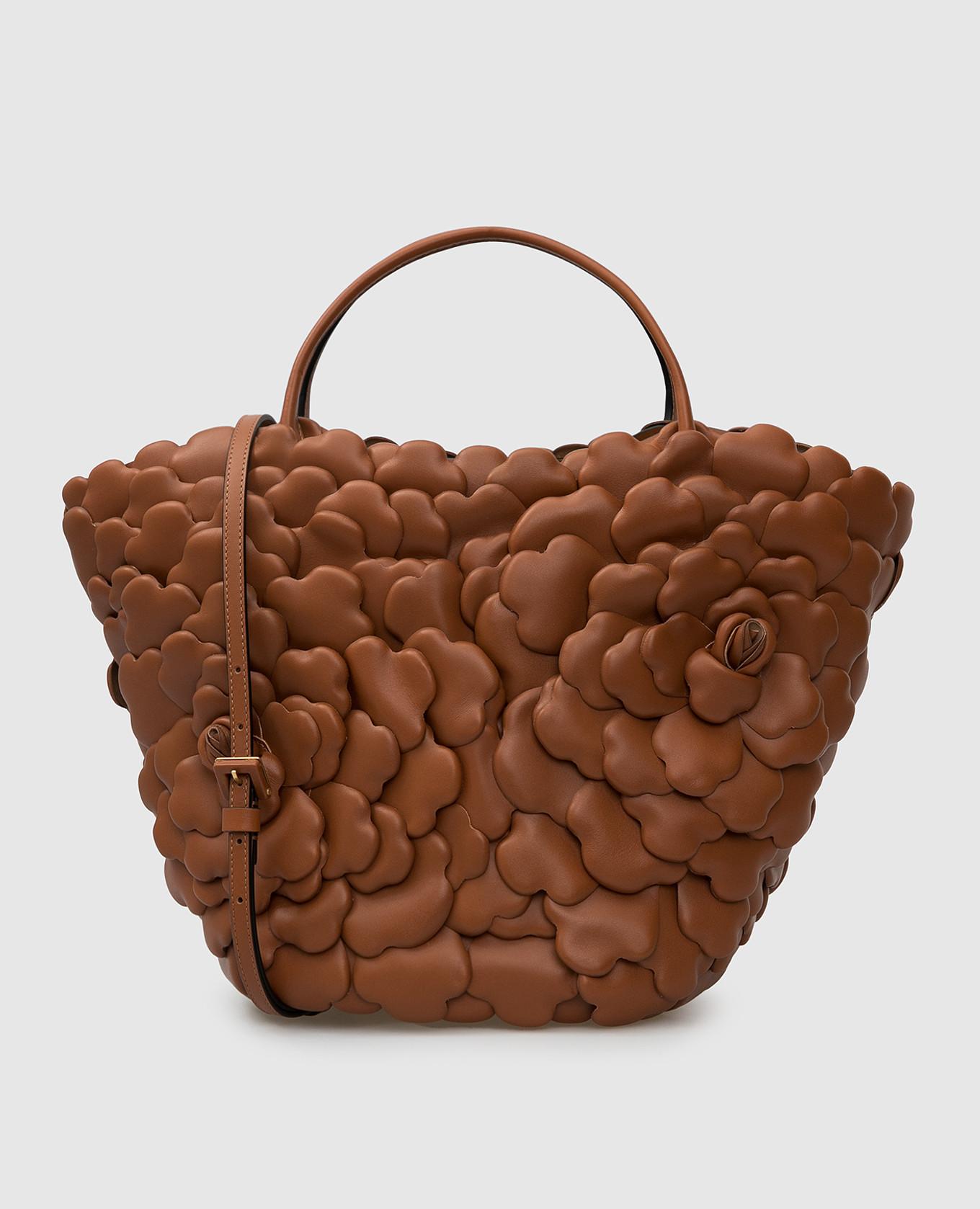 """Коричневая кожаная сумка """"Rose Edition"""" Valentino"""