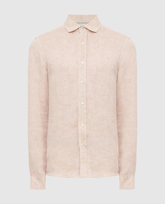 Бежевая рубашка из льна