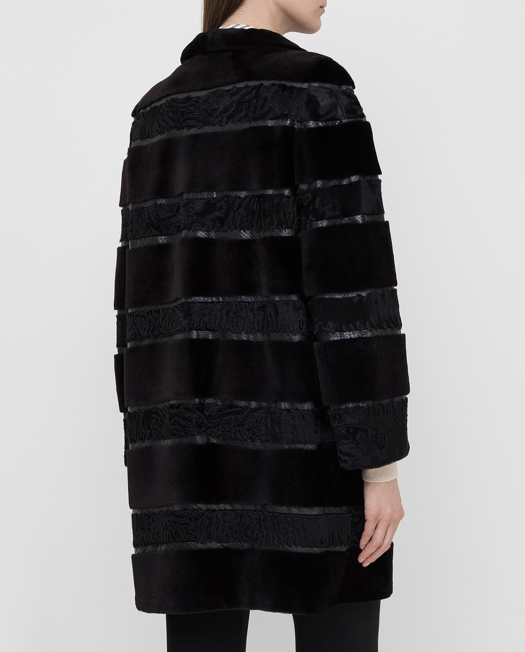 Florence Mode Черная шуба из меха норки и меха ягненка L1434 изображение 4